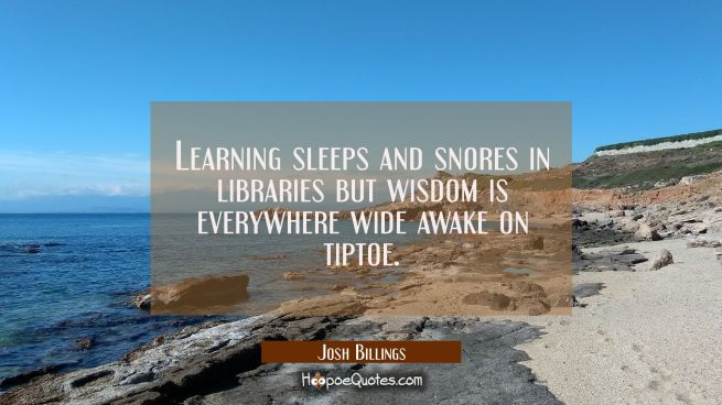 Learning sleeps and snores in libraries but wisdom is everywhere wide awake on tiptoe.