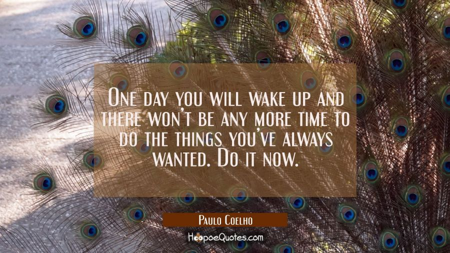 One day you will wake up and there won't be any more time to do the things you've always wanted. Do it now. Paulo Coelho Quotes
