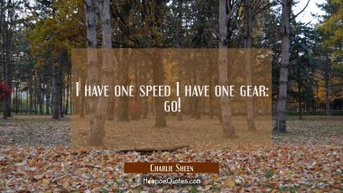 I have one speed I have one gear: go!