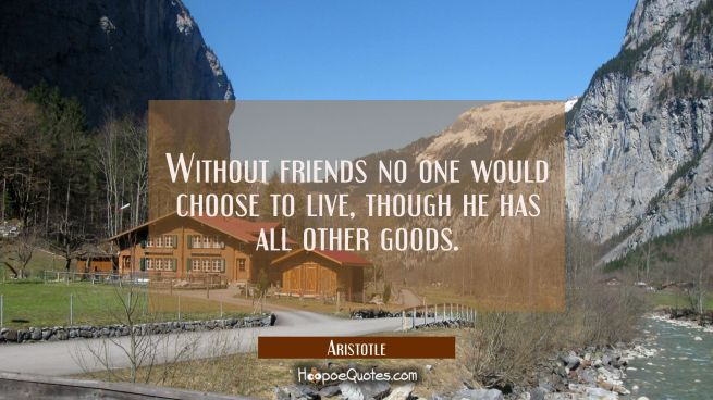 Without friends no one would choose to live though he has all other goods.