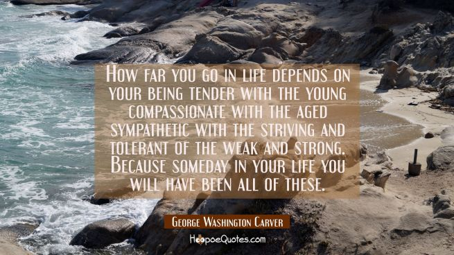 How far you go in life depends on your being tender with the young compassionate with the aged symp