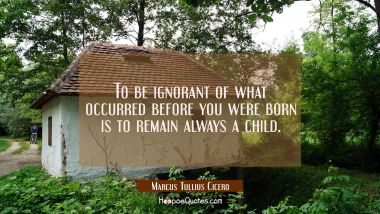 To be ignorant of what occurred before you were born is to remain always a child.