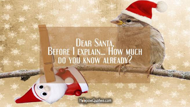 Dear Santa, before I explain... How much do you know already?