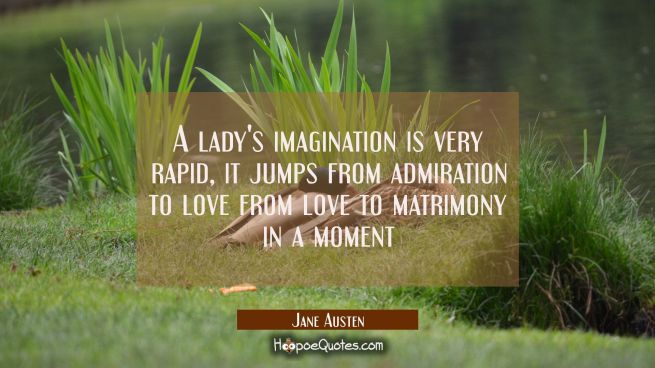 A lady's imagination is very rapid, it jumps from admiration to love from love to matrimony in a mo