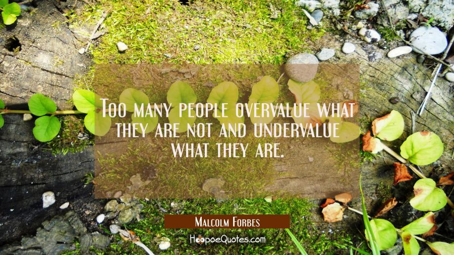 Too many people overvalue what they are not and undervalue what they are. Malcolm Forbes Quotes
