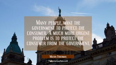Many people want the government to protect the consumer. A much more urgent problem is to protect t