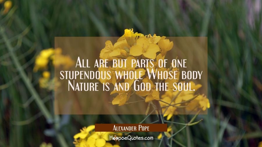 All are but parts of one stupendous whole Whose body Nature is and God the soul. Alexander Pope Quotes