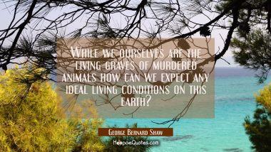 While we ourselves are the living graves of murdered animals how can we expect any ideal living con