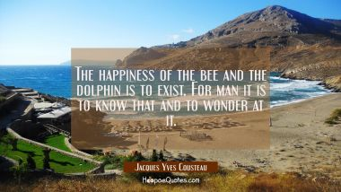 The happiness of the bee and the dolphin is to exist. For man it is to know that and to wonder at i