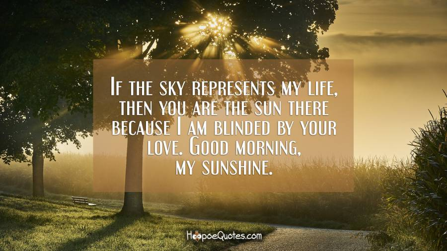 If the sky represents my life, then you are the sun there because I am blinded by your love. Good morning, my sunshine. Good Morning Quotes
