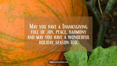 May you have a Thanksgiving full of joy, peace, harmony and may you have a wonderful holiday season too. Thanksgiving Quotes