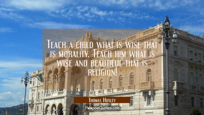 Teach a child what is wise that is morality. Teach him what is wise and beautiful that is religion!