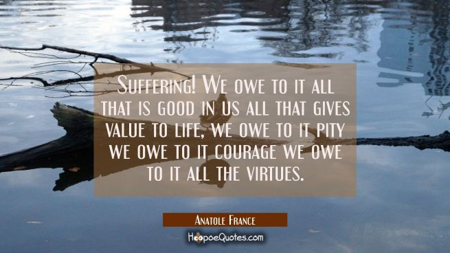 Suffering! We owe to it all that is good in us all that gives value to life, we owe to it pity we o