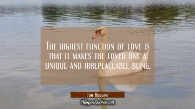 The highest function of love is that it makes the loved one a unique and irreplaceable being. Tom Robbins Quotes