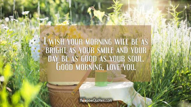 I wish your morning will be as bright as your smile and your day be as good as your soul. Good morning, love you.
