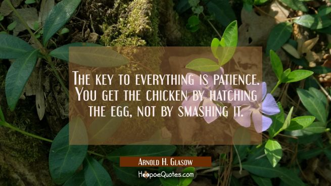 The key to everything is patience. You get the chicken by hatching the egg not by smashing it.