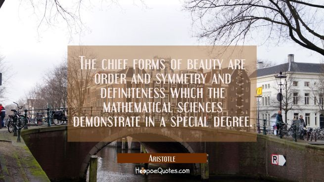 The chief forms of beauty are order and symmetry and definiteness which the mathematical sciences d