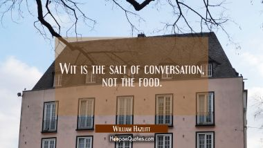 Wit is the salt of conversation not the food.