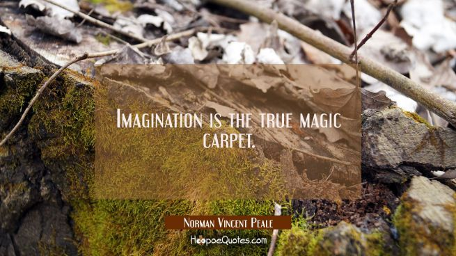 Imagination is the true magic carpet.