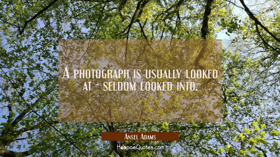 A photograph is usually looked at - seldom looked into. Ansel Adams Quotes