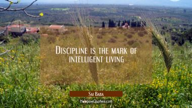 Discipline is the mark of intelligent living
