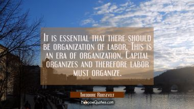 It is essential that there should be organization of labor. This is an era of organization. Capital