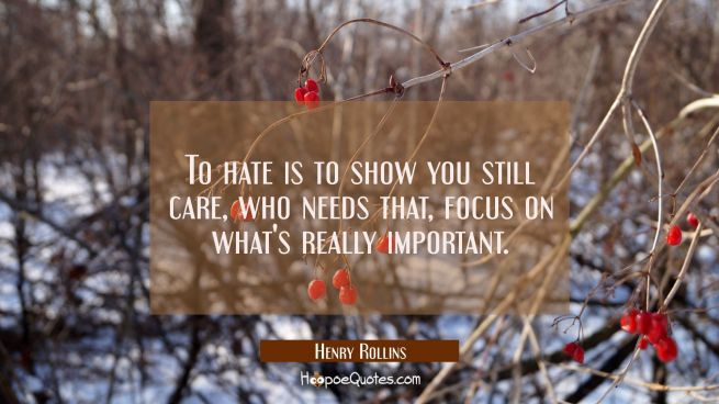 To hate is to show you still care who needs that focus on what's really important.