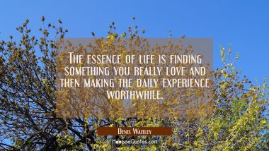 The essence of life is finding something you really love and then making the daily experience worth