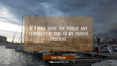 If I have done the public any service it is due to my patient thought.