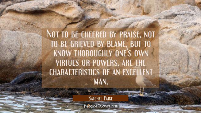 Not to be cheered by praise not to be grieved by blame but to know thoroughly one's own virtues or