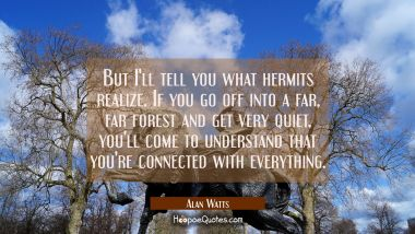 But I'll tell you what hermits realize. If you go off into a far far forest and get very quiet you'
