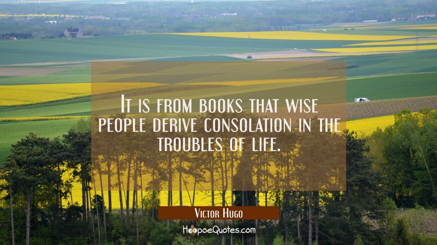 It is from books that wise people derive consolation in the troubles of life. Victor Hugo Quotes