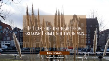 If I can stop one heart from breaking I shall not live in vain.