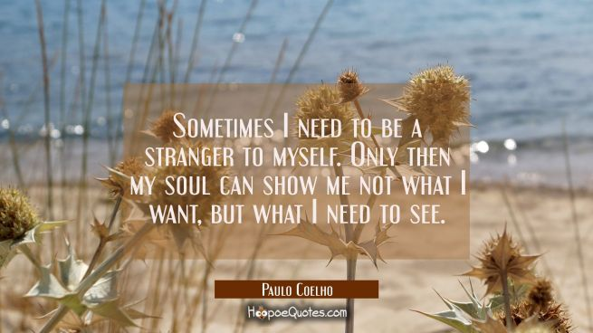Sometimes I need to be a stranger to myself. Only then my soul can show me not what I want, but what I need to see.