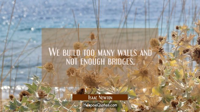 We build too many walls and not enough bridges.