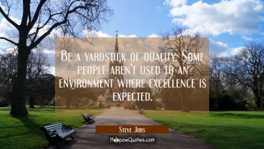 Be a yardstick of quality. Some people aren't used to an environment where excellence is expected. Steve Jobs Quotes