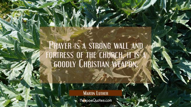 Prayer is a strong wall and fortress of the church, it is a goodly Christian weapon.