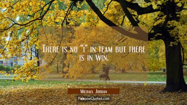 "There is no ""i"" in team but there is in win."