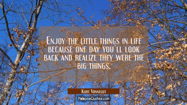 Enjoy the little things in life because one day you`ll look back and realize they were the big things.