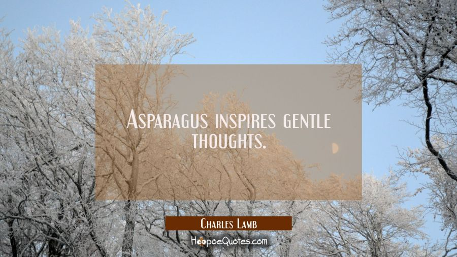 Asparagus inspires gentle thoughts. Charles Lamb Quotes