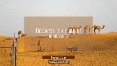 Boldness is a child of ignorance