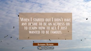 When I started out I didn't have any desire to be an actress or to learn how to act. I just wanted