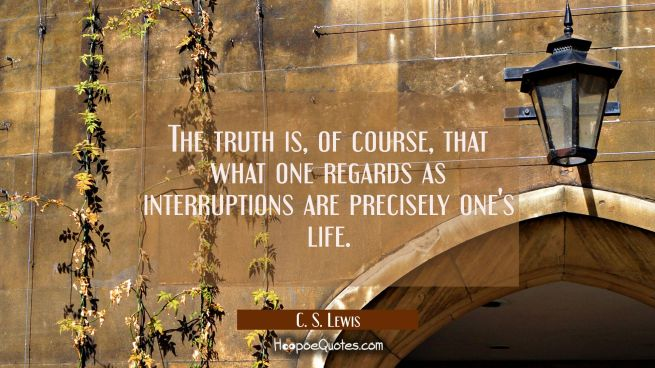 The truth is, of course, that what one regards as interruptions are precisely one's life.