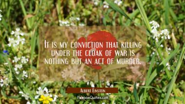 It is my conviction that killing under the cloak of war is nothing but an act of murder.