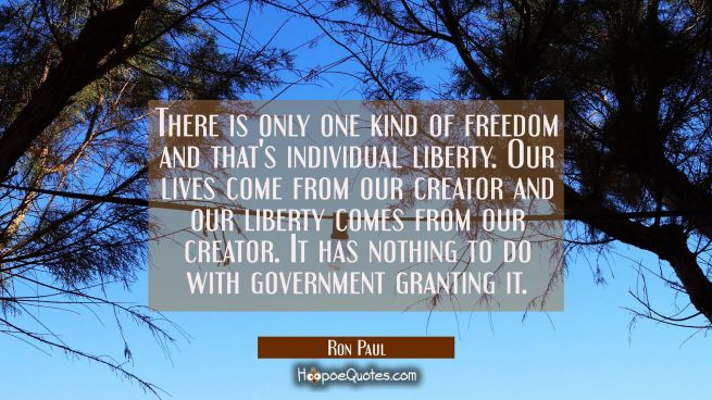 There is only one kind of freedom and that's individual liberty. Our lives come from our creator an