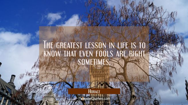 The greatest lesson in life is to know that even fools are right sometimes.