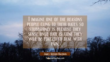 I imagine one of the reasons people cling to their hates so stubbornly is because they sense once h James Arthur Baldwin Quotes