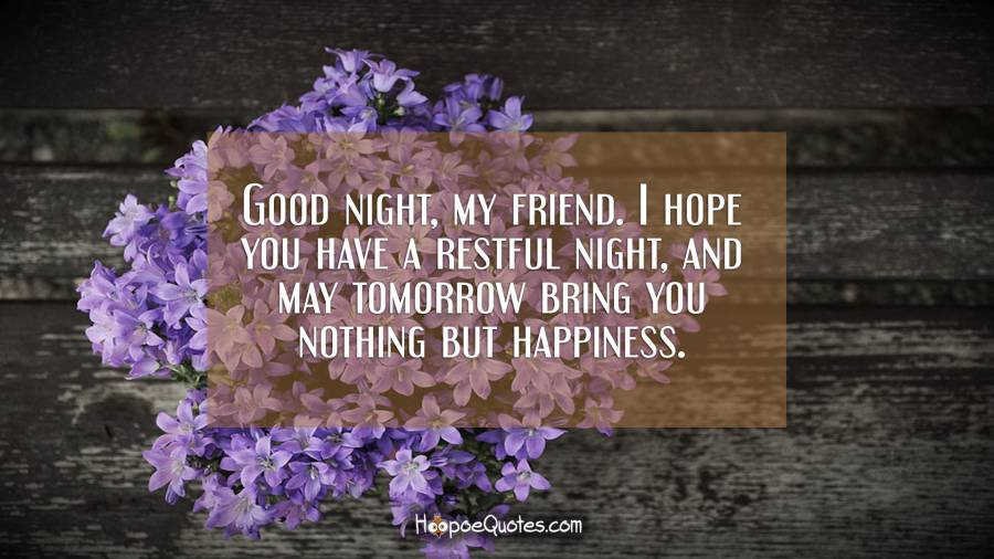Good night, my friend. I hope you have a restful night, and may tomorrow bring you nothing but happiness. Good Night Quotes