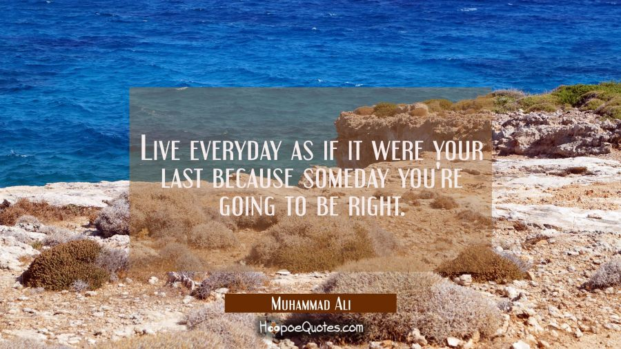 Live everyday as if it were your last because someday you're going to be right. Muhammad Ali Quotes
