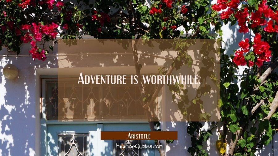 Adventure is worthwhile. Aristotle Quotes